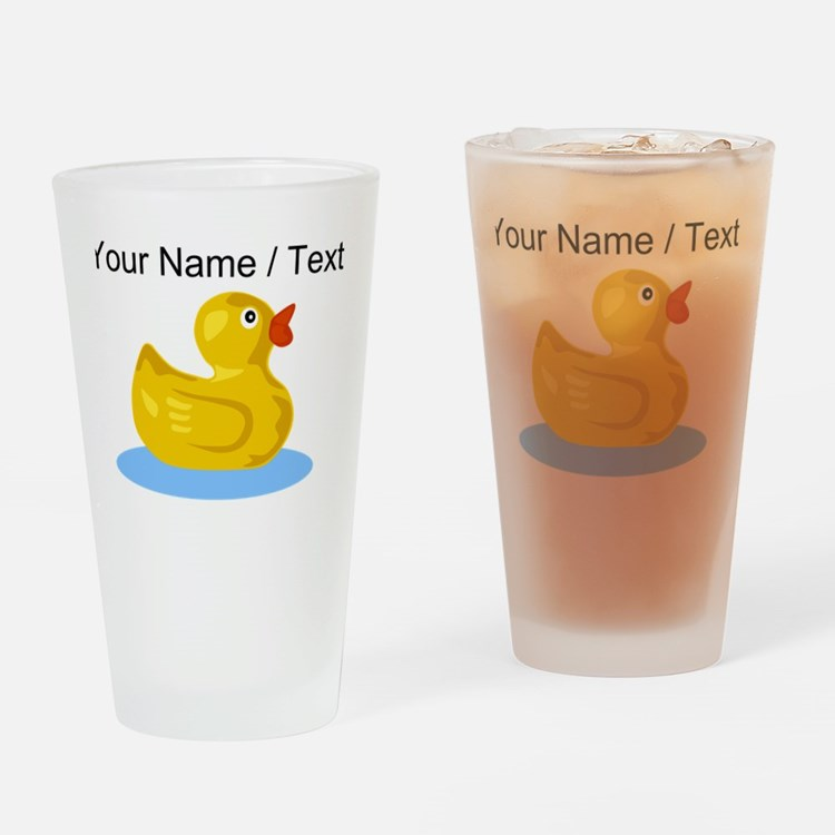 Custom Yellow Rubber Duck Drinking Glass
