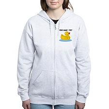 Custom Yellow Rubber Duck Zip Hoodie