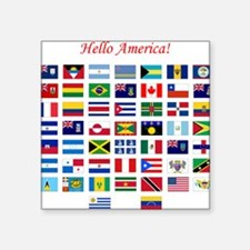 "America flags tile Square Sticker 3"" x 3"""