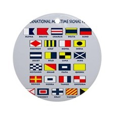 Maritime flags pillow Round Ornament