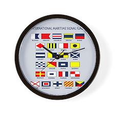 Maritime flags pillow Wall Clock