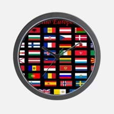 European flags_mousepad Wall Clock