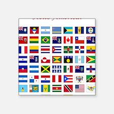 "America flags light tee Square Sticker 3"" x 3"""