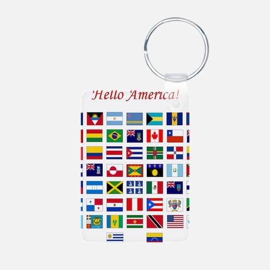 America flags light tee Aluminum Photo Keychain