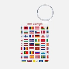 European Flags_light tee Aluminum Photo Keychain