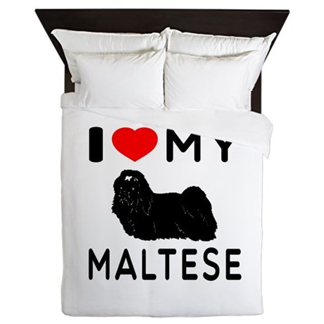 I Love My Dog Maltese Queen Duvet