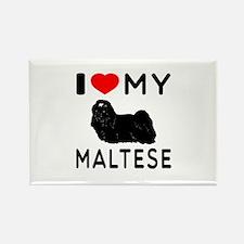 I Love My Dog Maltese Rectangle Magnet