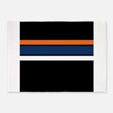 Team Colors 2,,,Orange ,Blue and wh 5'x7'Area Rug