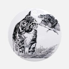 KittenAndFrog_12x12 Round Ornament