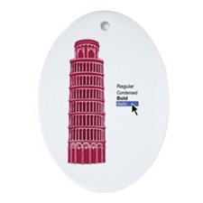 Straight Pisa Pink Ornament (Oval)
