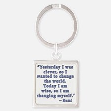 Rumi Quote on Change Square Keychain