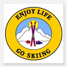 """skiing3 Square Car Magnet 3"""" x 3"""""""