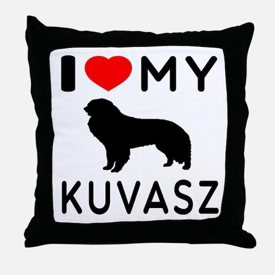 I Love My Dog Kuvasz Throw Pillow
