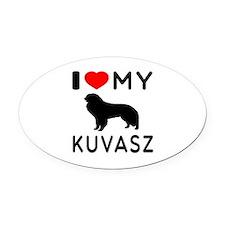 I Love My Dog Kuvasz Oval Car Magnet