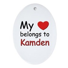 My heart belongs to kamden Oval Ornament