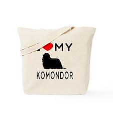 I Love My Dog Komondor Tote Bag