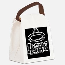 condom_happen_left_BW_oval_sticke Canvas Lunch Bag