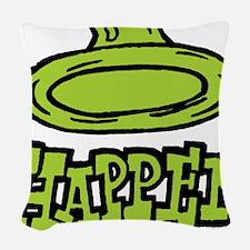 condom_happen_left_green Woven Throw Pillow