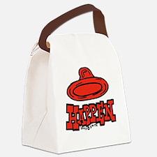 condom_happen_left_red_clock Canvas Lunch Bag
