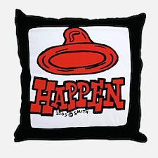 condom_happen_left_red_clock Throw Pillow