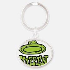 condom_happen_left_green_clock Oval Keychain