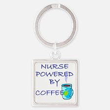 POWERED BY COFFEE NURSE 1 Square Keychain