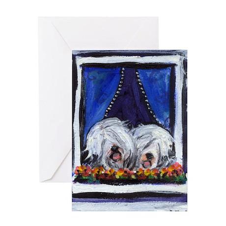 OLD ENGLISH SHEEPDOG WINDOW Greeting Cards (Packa