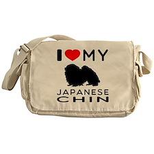 I Love My Japanese Chin Messenger Bag
