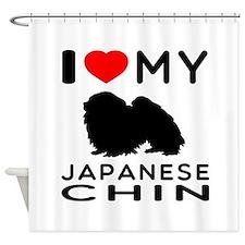 I Love My Japanese Chin Shower Curtain