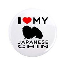 "I Love My Japanese Chin 3.5"" Button (100 pack)"