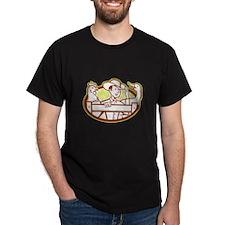 Farmer With Chicken Goose Cartoon T-Shirt