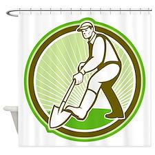 Gardener Landscaper Digging Shovel Circle Shower C