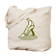 Gardener Landscaper Digging Shovel Retro Tote Bag