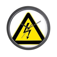 Electricity Warning Sign Wall Clock
