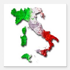 "Italy Map Square Car Magnet 3"" x 3"""