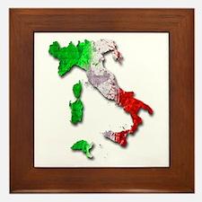 Italy Map Framed Tile
