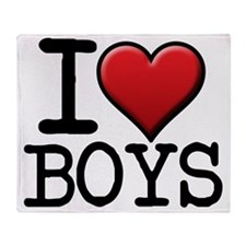 I Red Heart Boys Throw Blanket