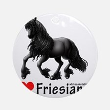 2-i heart friesians Round Ornament