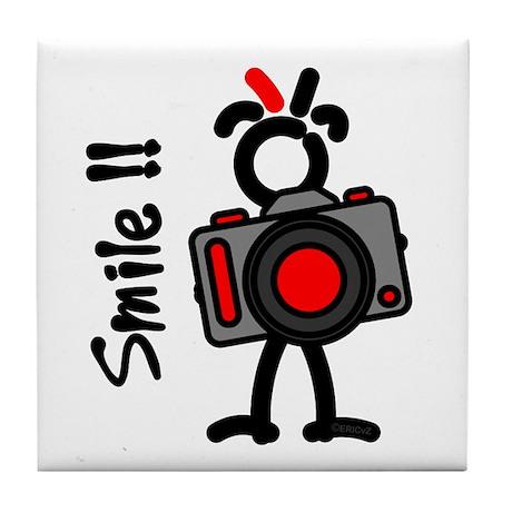 Red Smile1 Tile Coaster