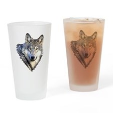3-GRAY WOLF Drinking Glass