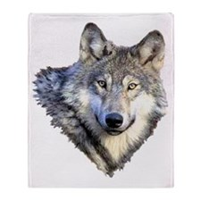 3-GRAY WOLF Throw Blanket