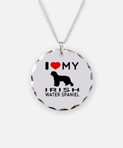 I Love My Irish Water Spaniel Necklace
