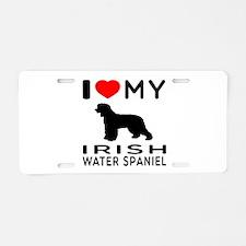 I Love My Irish Water Spaniel Aluminum License Pla