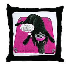 Black Lab Princess Throw Pillow