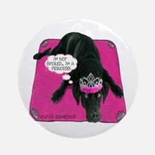 Black Lab Princess Ornament (Round)