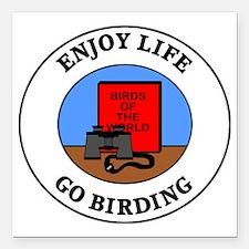 """birding1 Square Car Magnet 3"""" x 3"""""""