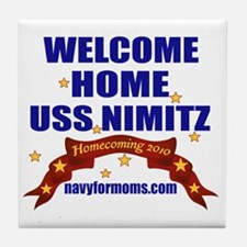 navy 4 moms welcome Tile Coaster