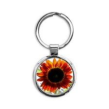 Red Sunflower T-Shirt Round Keychain