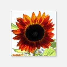 "Red Sunflower T-Shirt Square Sticker 3"" x 3"""