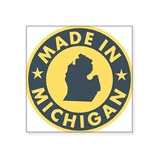 "2-Made-In-MICHIGAN Square Sticker 3"" x 3"""